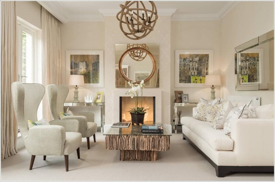 Sử dụng gương cho không gian phòng khách nhỏ