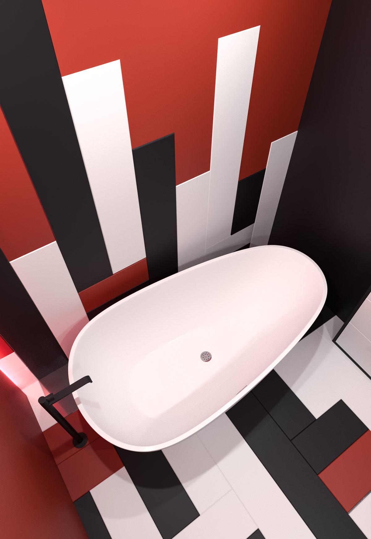 Căn hộ hiện đại với nội thất đỏ xám phong cách Nhật Bản