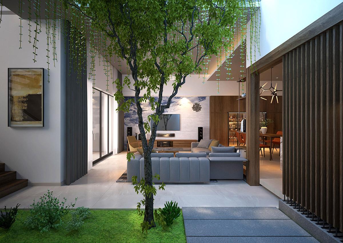 Phòng khách ấn tượng với không gian xanh bên trong