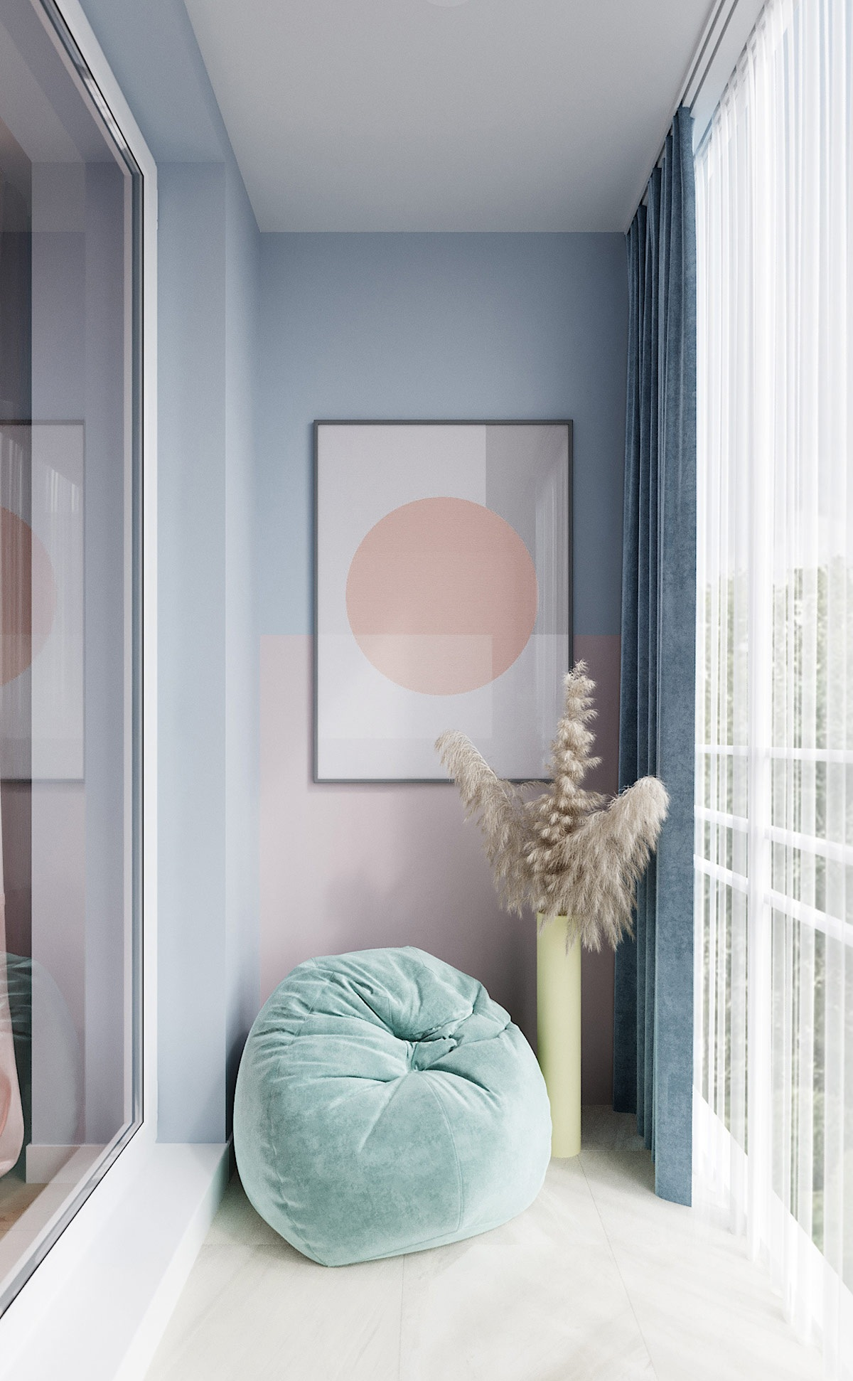 Nội thất màu pastel tạo không gian vui vẻ, ngọt ngào