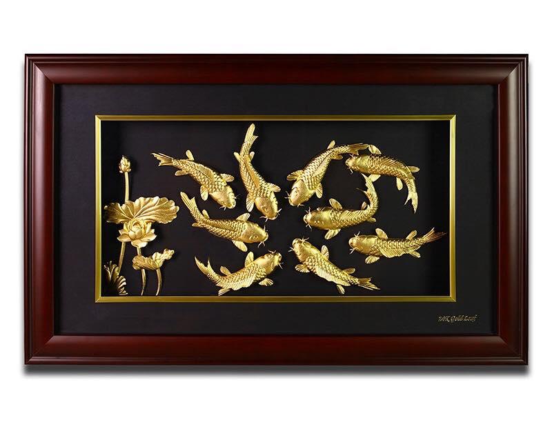 Mẫu tranh mạ vàng cửu ngư quần hội