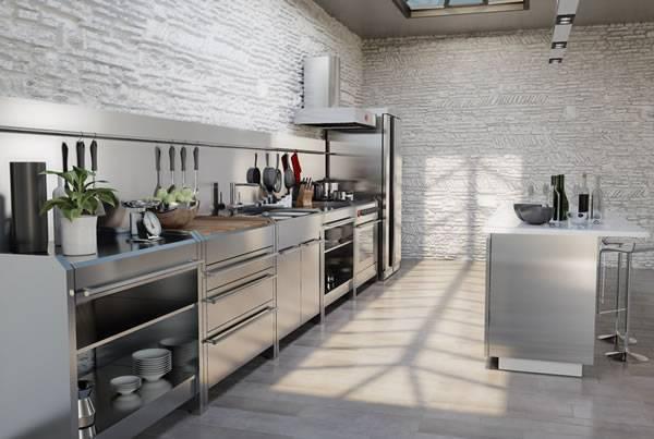 Thép không gỉ trong không gian bếp