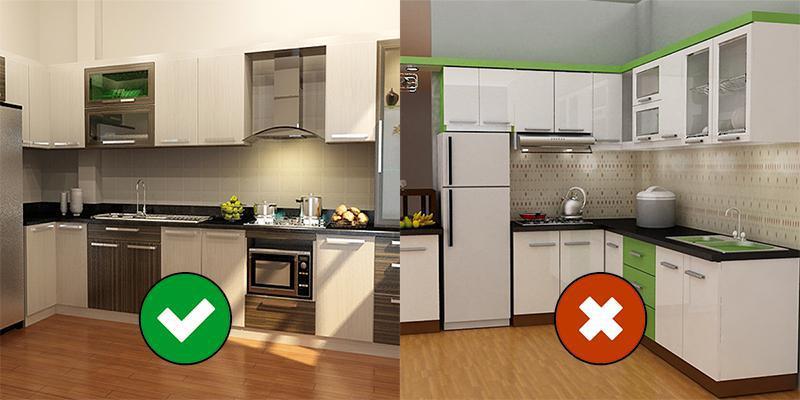 Bếp nấu không đặt bên cạnh tủ lạnh, vòi nước