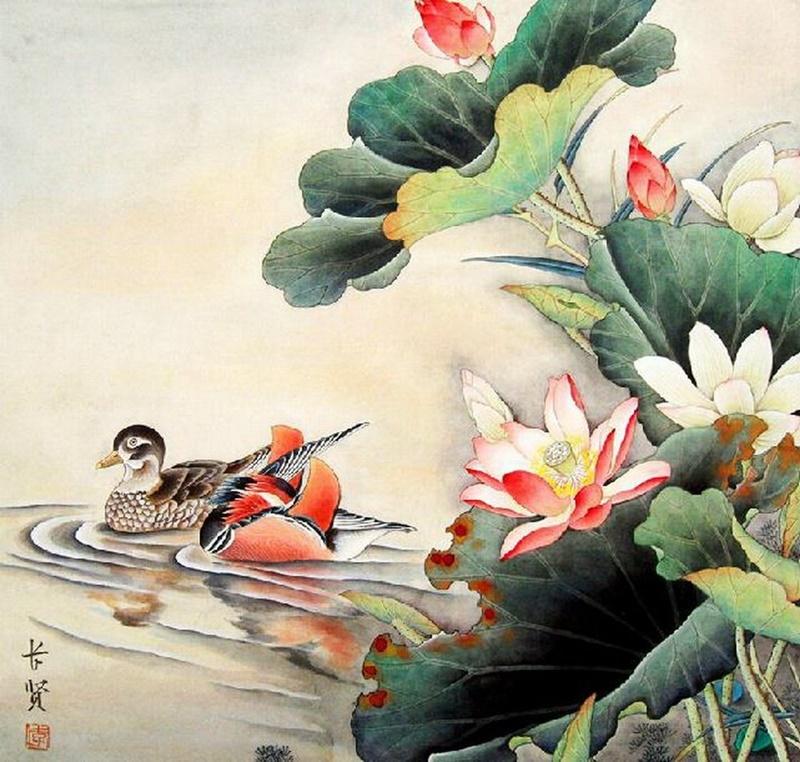 Tranh Uyên ương và hoa sen
