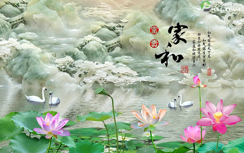 Tranh đôi thiên nga trong hồ sen