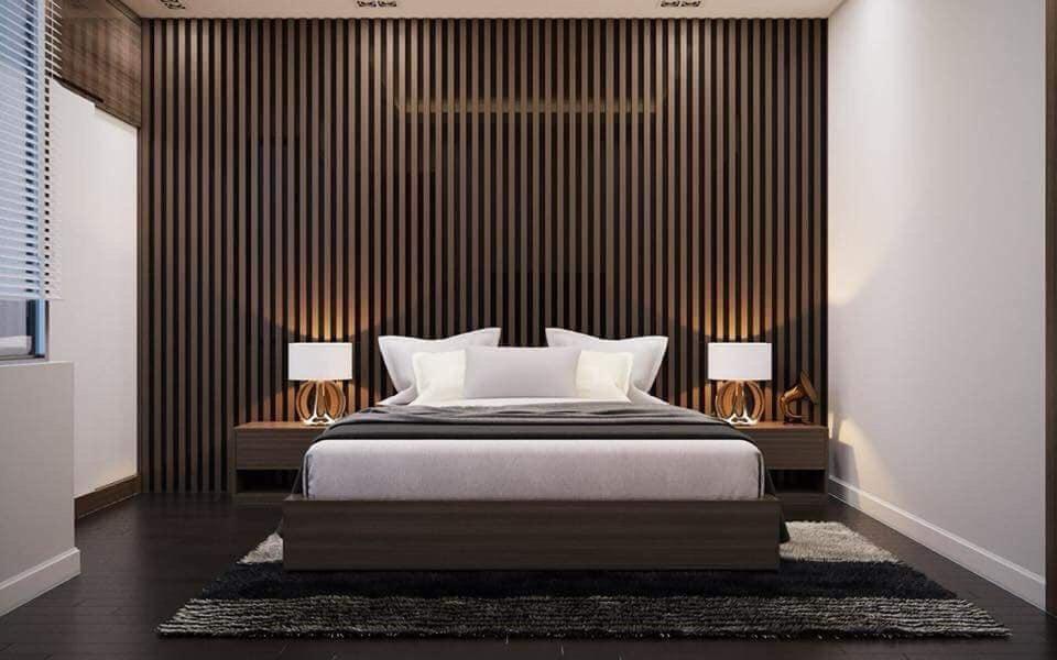 Không gian phòng ngủ sang trọng, ấm áp với tấm ốp tường bằng gỗ nhựa