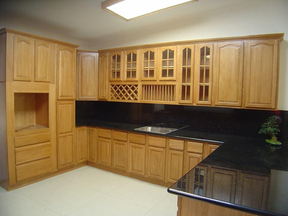 Mẫu Tủ bếp bằng gỗ dổi