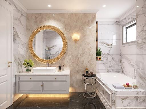 Nhà vệ sinh sử dụng tông màu sáng với nền đen sẽ mang lại cảm giác sạch sẽ và thông thoáng.