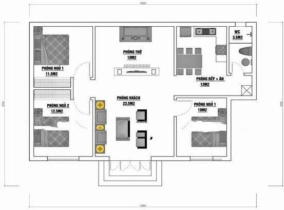 Mẫu 9: Nhà cấp 4 có diện tích 75m2 được xây dựng trên khu đất có diện tích 96m2 bao gồm các công năng phòng khách, một phòng thờ, một phòng ngủ lớn, hai phòng ngủ nhỏ, một phòng bếp và một nhà vệ sinh.