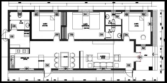 Mẫu 10: Nhà cấp 4 có diện tích 7m x 17m được thiết kế với đầy đủ công năng gồm phòng khách, hai phòng ngủ lớn, một phòng ngủ đôi cho hai con, một khu vực bếp liền kề với bàn ăn và ba nhà vệ sinh.
