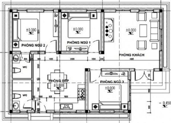 Mẫu 1: Bản vẽ nhà cấp 4 với thiết kế phòng khách, phòng bếp, ba phòng ngủ và hai nhà vệ sinh. Nhà được thiết kế có lối vào được thiết kế nằm ở bên hông phòng khách và cửa đi phụ ở khu vực bếp.