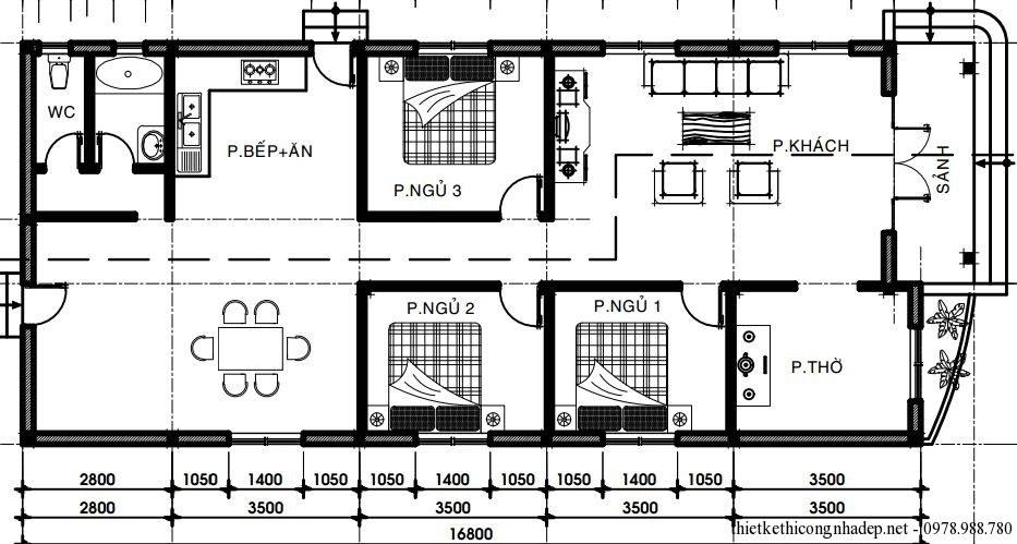 Mẫu 2: Thiết kế nhà cấp 4 với phòng khách, một khu vực bếp rộng rãi đối diện phòng ăn, ba phòng ngủ và một phòng thờ riêng biệt. Đây là cách thiết kế cũng như bố trí khá phổ biến hiện nay tại các gia dình ở nông thôn với khu bếp nấu ở phía trong, không gian tiếp khách ở phía cửa chính và không gian nghỉ ngơi ở giữa nhà để đảm bảo khoảng cách di chuyển giữa các không gian.