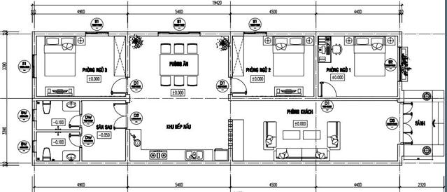 Mẫu 3: Bản vẽ nhà cấp 4 thiết kế 5x20m, sắp xếp và bố trí khá độc đáo và thuận tiện. Từ phòng khách đi vào trong là không gian bếp nấu, phía đối diện lần lượt là phòng ngủ 1, phòng ngủ 2, phòng ăn và phòng ngủ 3. Khu vệ sinh được thiết kế gần với sân sau và sau khu vực bếp nấu, rất thuận tiện cho việc di chuyển cũng như lưu thông không khí.