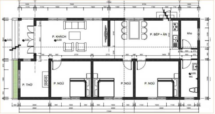 Mẫu 6: Mặt bằng công năng nhà cấp 4 có diện tích 7 x 15m được bố trí gồm phòng khách, ba phòng ngủ, phòng thờ, phòng bếp và ăn, nhà kho và nhà vệ sinh khép kín, đáp ứng đầy đủ nhu cầu sử dụng của nhiều hộ gia đình ba đến bốn thành viên sinh sống hiện nay.