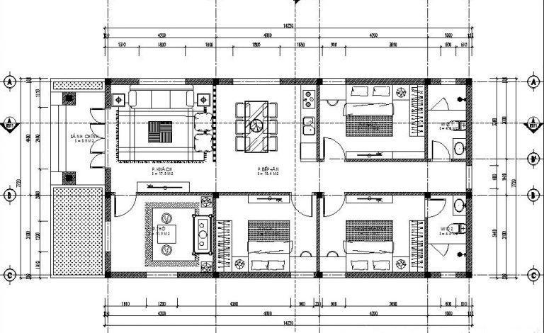 Mẫu 7: Mặt bằng công năng nhà cấp 4 gồm sân trước, phòng khách, phòng bếp, phòng thờ, hai phòng ngủ lớn, một phòng ngủ nhỏ và hai nhà vệ sinh được thiết kế đơn giản nhưng không kém phần hiện đại, đáp ứng đầy đủ nhu cầu sinh hoạt, thích hợp với nhiều hộ gia đình ở nông thôn và thành thị hiện nay.