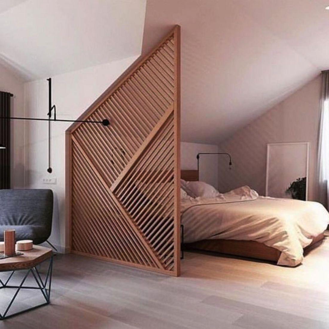 Mẫu vách ngăn phòng ngủ bằng gỗ