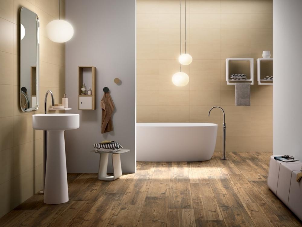 Mẫu gạch ốp nhà vệ sinhvới hoạ tiết giả gỗ