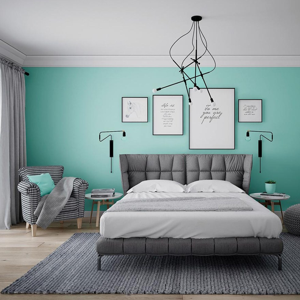 Phòng ngủ xanh ngọc bích 2