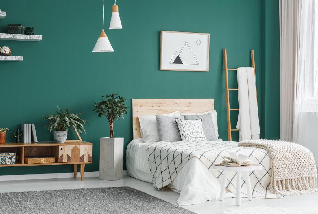 Màu xanh lá cây – Màu sơn phòng ngủ đẹp hợp với người mệnh Mộc