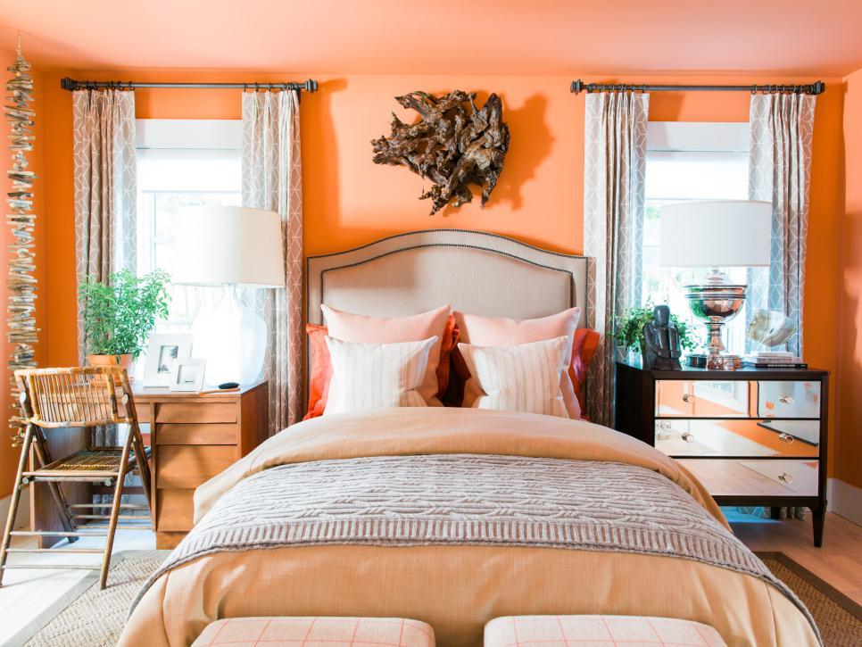 Màu cam – Màu sơn phòng ngủ đẹp hợp với người mệnh Hỏa