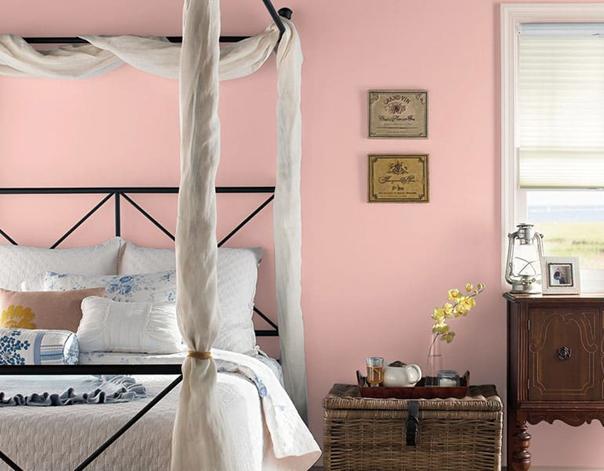 Màu hồng phấn – Màu sơn phòng ngủ đẹp hợp với người mệnh Hỏa và mệnh Thổ