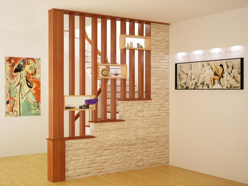 Mẫu vách ngăn phòng khách bằng gỗ được đặt gần chỗ cầu thang