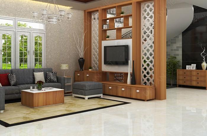 Vách ngăn phòng khách bằng gỗ tạo không gian riêng tư, thông thoáng