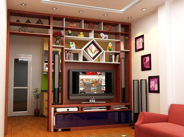 Mẫu vách ngăn gỗ được thiết kế thêm ánh sáng