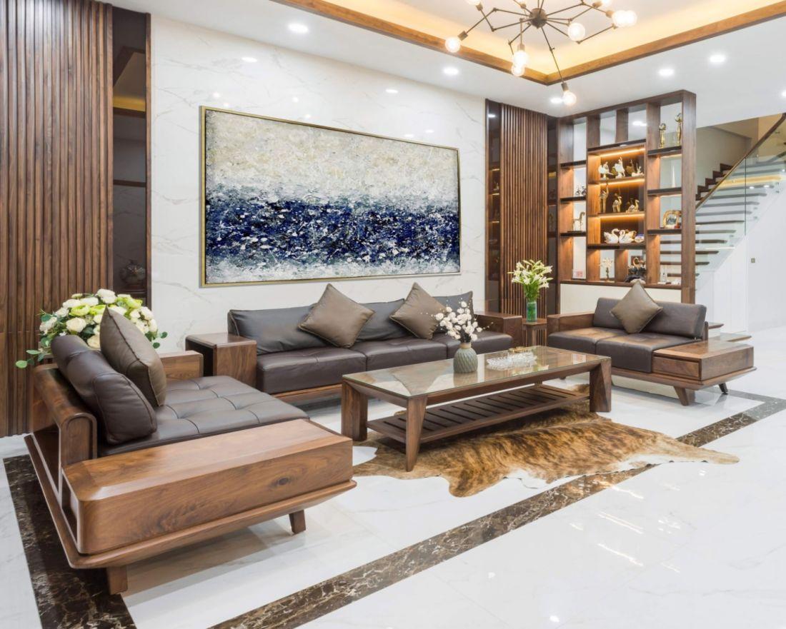 Trang trí phòng khách bằng nội thất gỗ tự nhiên