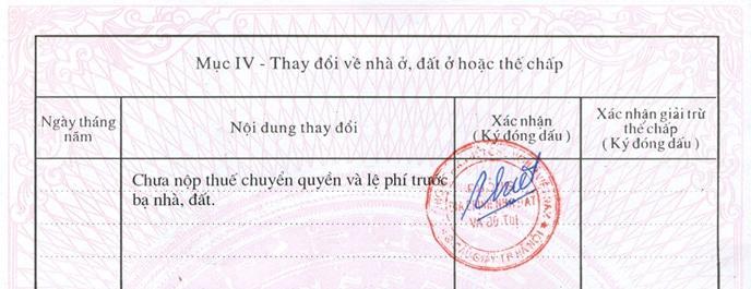 Khi chủ sở hữu đã hoàn thành hoặc chưa hoàn thành nghĩa vụ nộp thuế đều sẽ có xác nhận được đóng dấu đỏ.