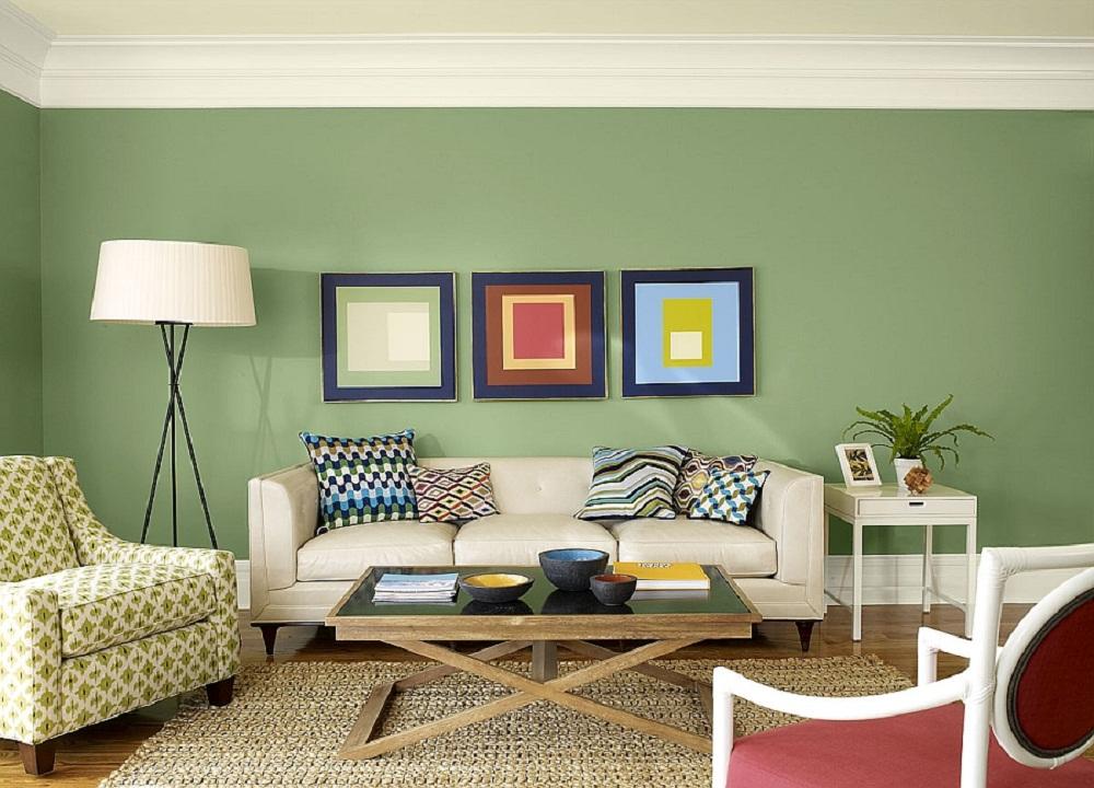 Màu sơn phòng khách mệnh Mộc