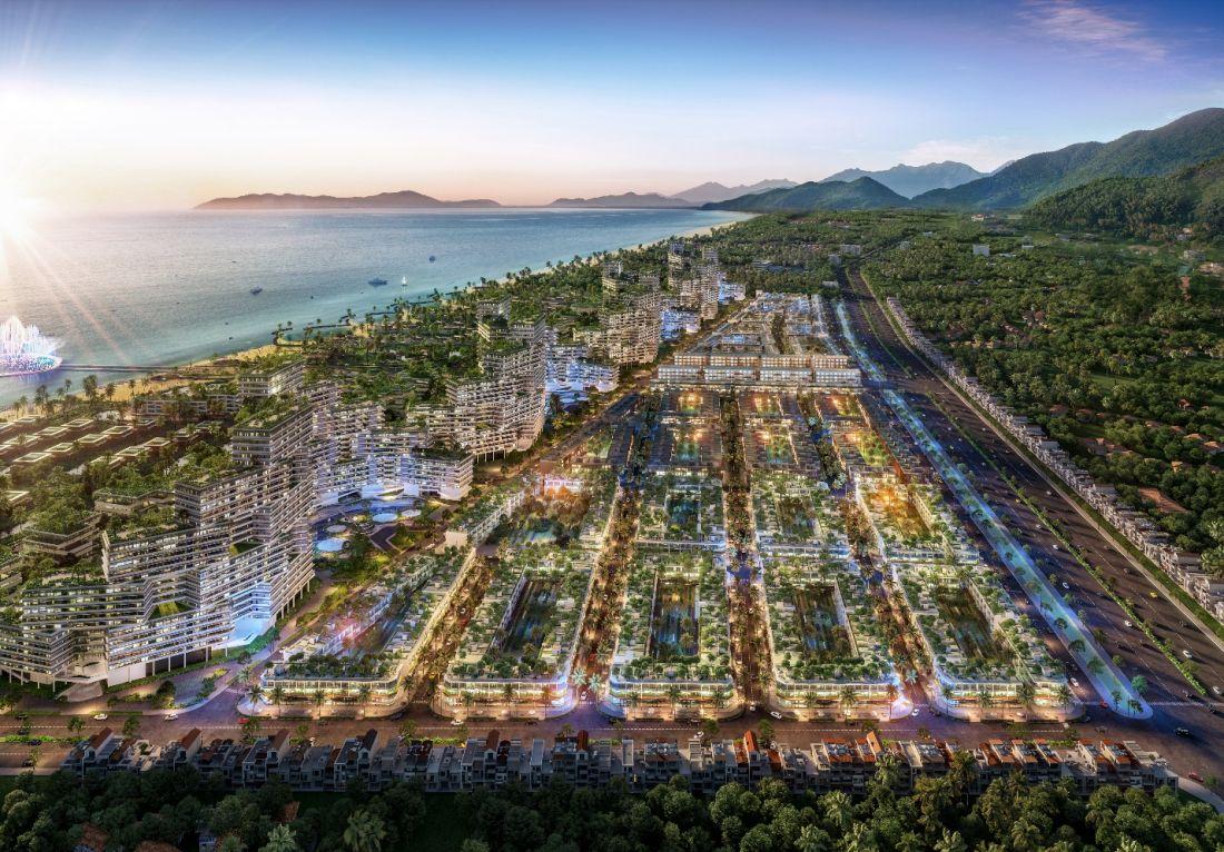 Phối cảnh phân khu nhà phố thương mại biển Thanh Long Bay