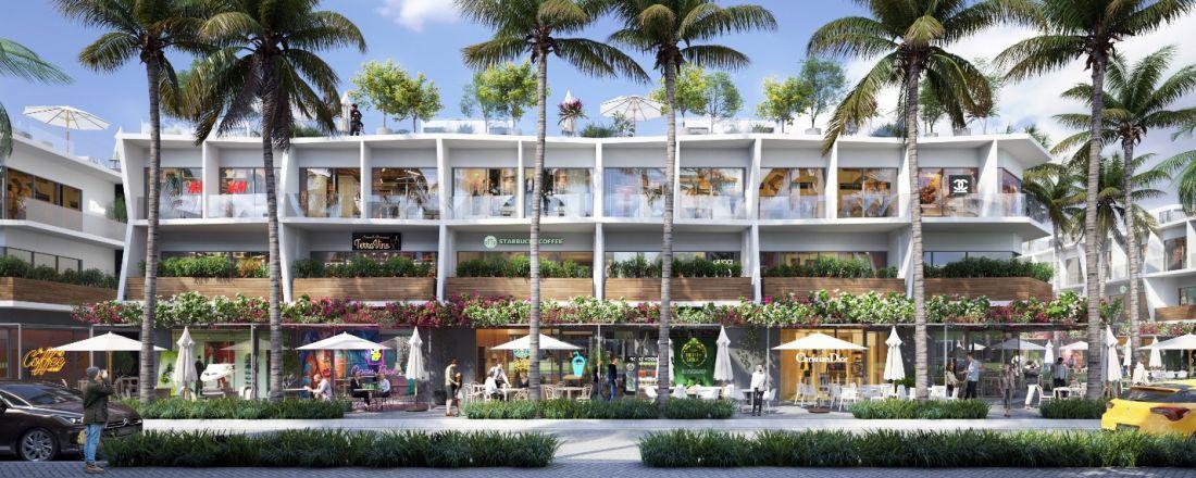 Thiết kế nhà phố thương mại biển The Sound với mặt tiền trước sôi động