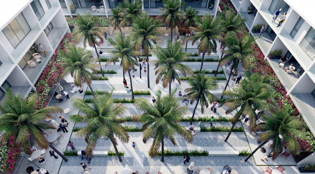 Mặt tiền sau là công viên trung tâm rộng gần 2000m2 thanh bình, xanh mát.