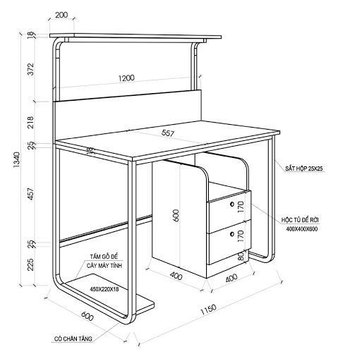 Kích thước bàn làm việc kết hợp để máy tính