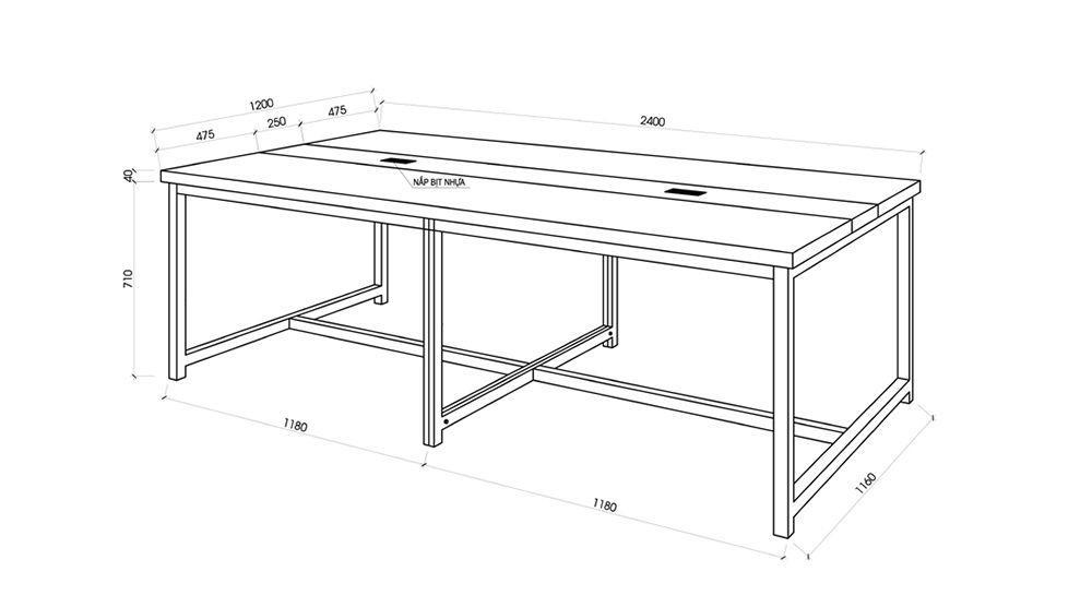 Kích thước bàn làm việc cụm nhân viên