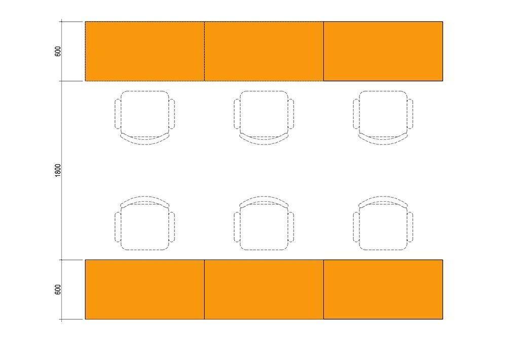 Khoảng cách tối thiểu giữa 2 dãy bàn làm việc phải từ 180cm trở lên.