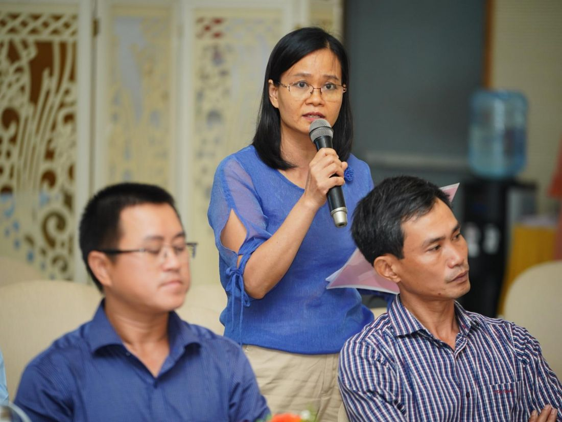 Bà Vũ Thị Thanh Hà nói lên bức xúc của mình khi không được tách thửa đất theo nhu cầu tại môt buổi tọa đàm mới diễn ra ở TP.HCM