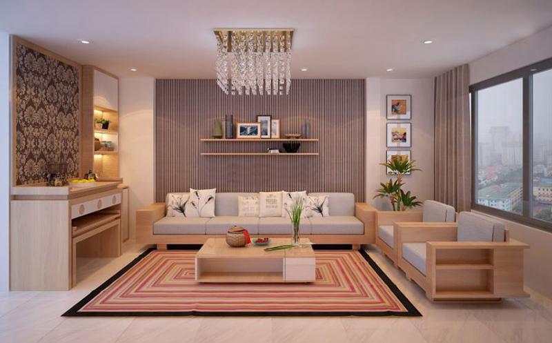 Cách bố trí bàn ghế gỗ trong phòng khách