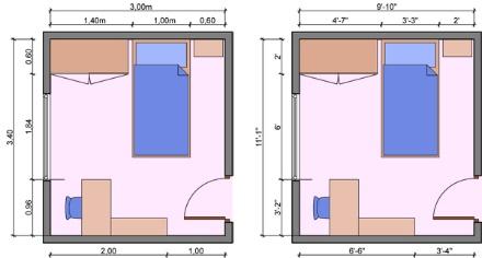 Diện tích phòng dành cho bé trước tuổi đi học khoảng 10m2