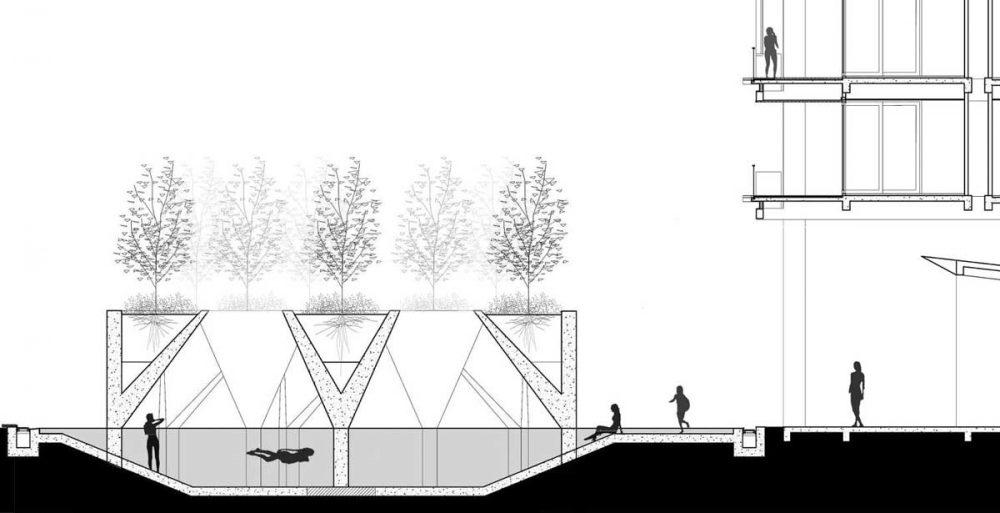 Hồ bơi ấn tượng với thiết kế hình chậu cây xanh khổng lồ