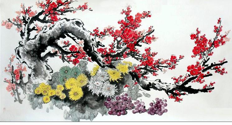 Tranh thủy mặc hoa đào đầy tinh tế, trang nhã