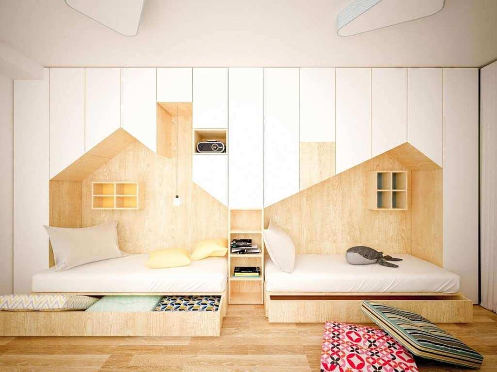Ý tưởng thiết kế không gian lưu trữ chung trong phòng bé