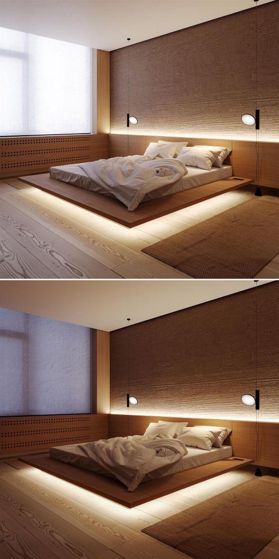 Trang trí đèn LED cho giường ngủ bay lơ lửng