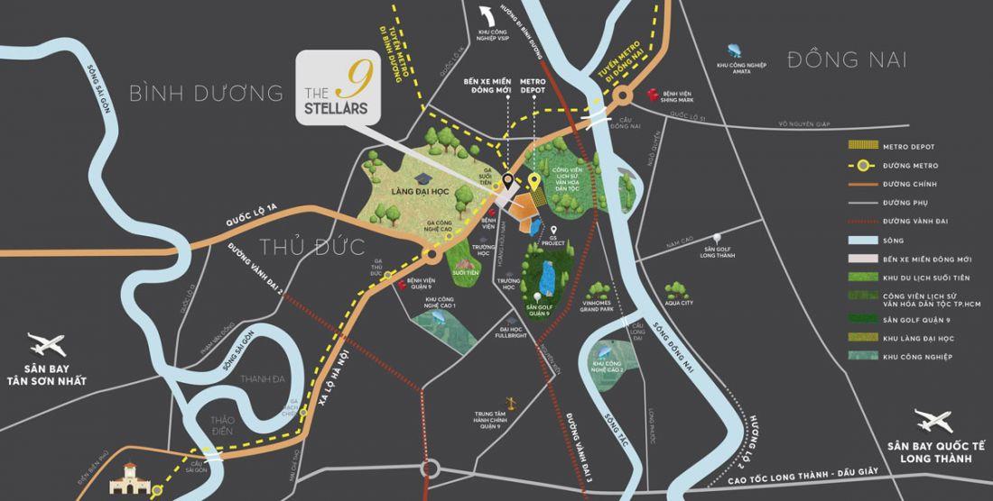 Vị trí dự án căn hộThe 9 Stellars Quận 9