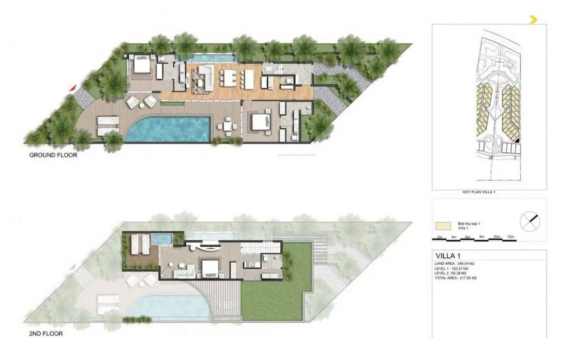 Thiết kế biệt thự vườnnằm ở trung tâm dự ánIxora Hồ Tràm
