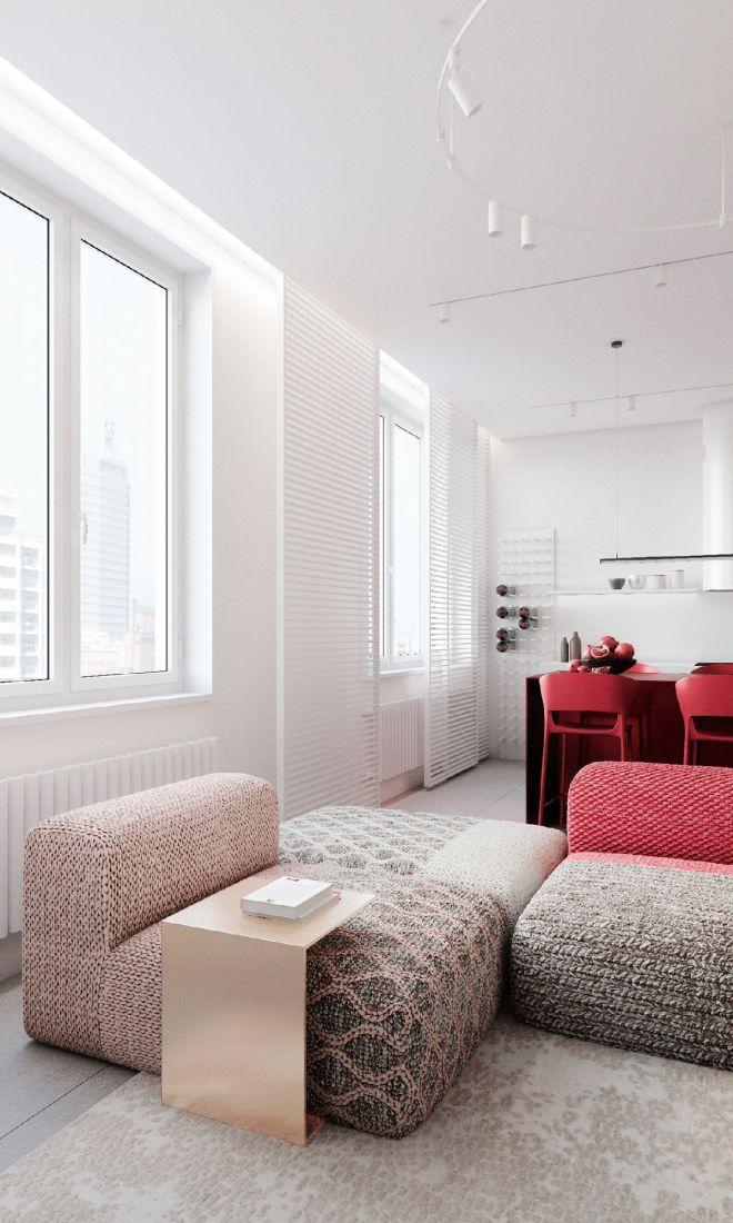 Trang trí màu đỏ ấn tượng làm điểm nhấn trong căn hộ
