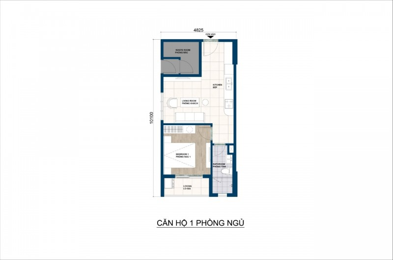 Mẫu căn hộ 1 phòng ngủ