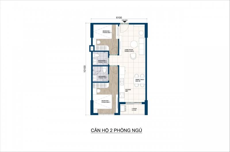 Mẫu căn hộ 2 phòng ngủ