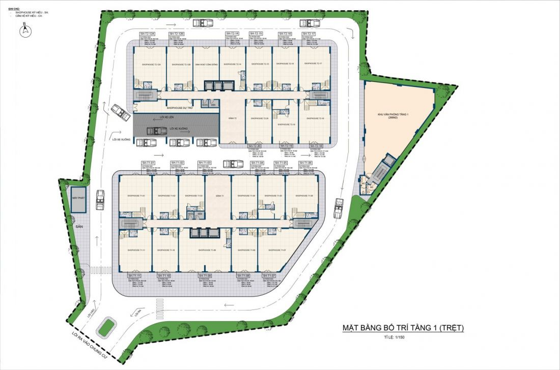Mặt bằng tầng1 của dự án Thiên Quân Marina Plaza Cần Thơ